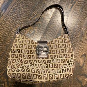 FENDI Leather-trimmed zucchino hobo shoulder bag
